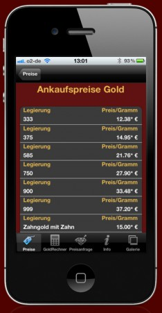 iPhone App and iPad App to purchase gold, silver and platinum - App-Abbildung-1