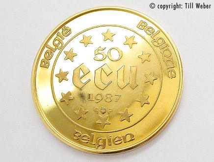 Goldmünzen Varia 1 - 50_ecu_belgien_1