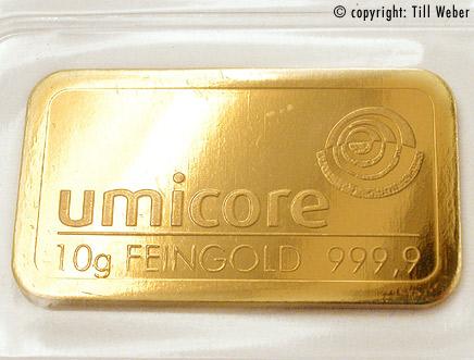 Umicore Goldbarren 10 Gramm