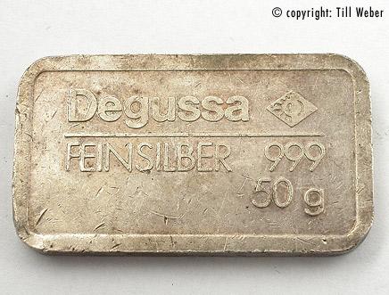 Degussa Silberbarren 50 Gramm