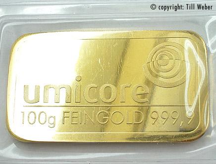 Umicore Goldbarren 100 Gramm
