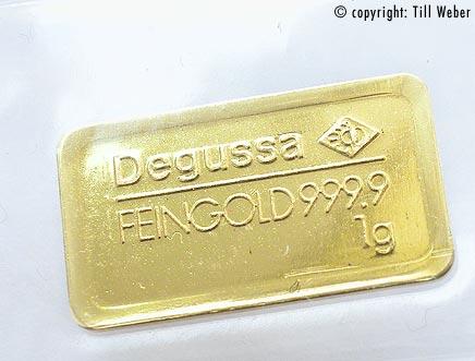 Goldbarren Degussa 1 Gramm